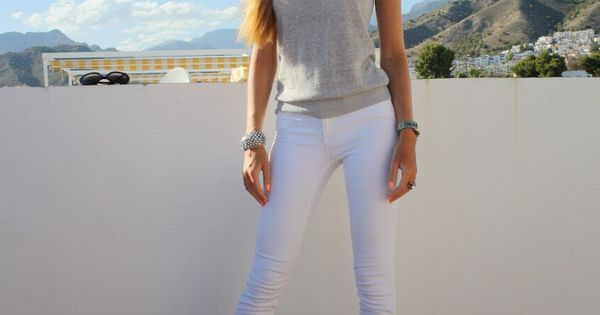 Cute girl in really tight white jeans | White jeans, Summer