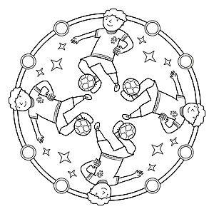 6 Verschillende Sport Mandala Ausmalbilder Zum