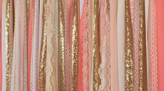 corail p che gold sparkle sequin guirlande rideau de dentelle d cor de chambre d enfant. Black Bedroom Furniture Sets. Home Design Ideas