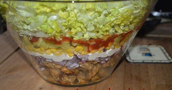 Salatka Warstwowa Gyros Kebab Lunch Recipes Chicken Egg Salad Food And Drink
