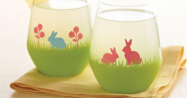Martha stewart easter bunny glasses plaidcrafts martha for Martha stewart christmas wine glasses