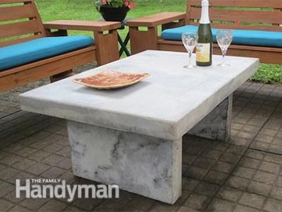 Build An Outdoor Table With Quikrete Countertop Mix Quikrete Countertop Mix Concrete Outdoor Table Diy Outdoor Table