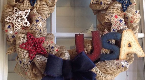 Patriotic Wreath - Patriotic Burlap Wreath - Memorial Day Wreath - 4th