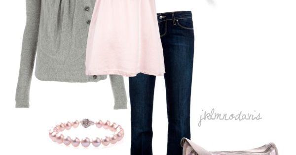 """""""Light Pink & Gray"""" by jklmnodavis on Polyvore no jewelry different purse"""