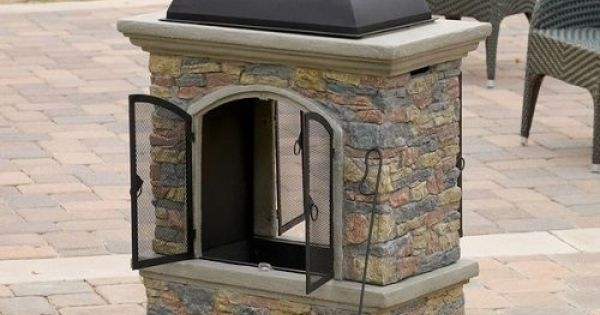 Outdoor Chiminea Natural Stone Fireplace Wood Burning