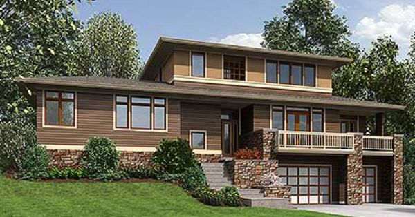 Plan 69600am 3 Bed Prairie Style For An Uphill Sloping