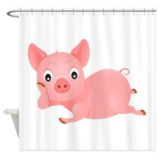 Pink Pig Shower Curtain By Evolveshop Pig Decor Pig Figurines