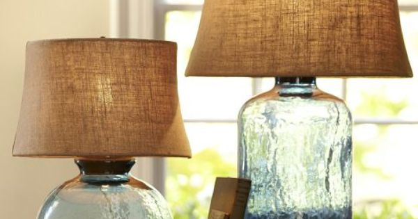 Blue Glass Lamp With Burlap Shade For The Home