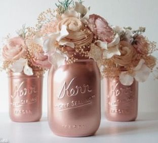 Rose Gold Spray Paint On Mason Jar Rose Gold Decor Rose Gold Wedding Rose Gold Party