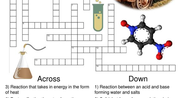 Chemistry Crossword Puzzle Chemical Reactions Includes Answer