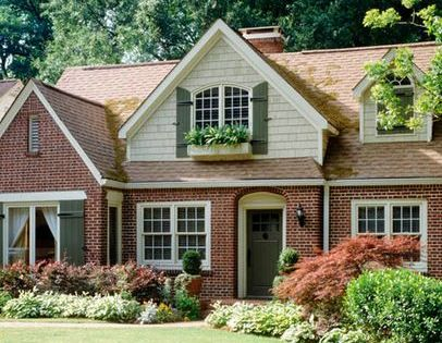 Brick house with cedar shake dormers google search for for Brick houses without shutters