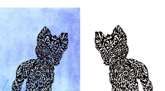 Yorkie Svg Zentangle Silhouette Yorkshire Terrier Clip Art