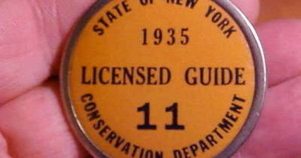 1935 New York Guide License For Adirondacks Mt Hunting