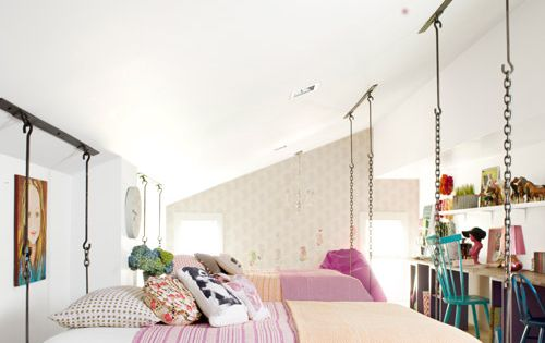 Love these suspended beds. Kid's bedroom @Reena Dasani Drummond | The Pioneer