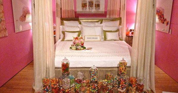 Pink candy bedroom from the nyc design on a dime benefit for Candy themed bedroom ideas