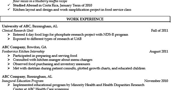 registered dietitian resume sample http