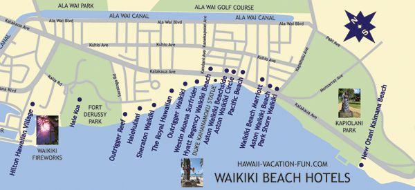Map Of Waikiki Beach Hotels With Waikiki Landmarks
