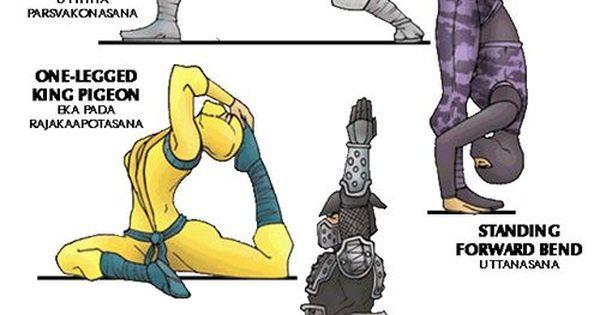 Cartoon Yoga Poses For Ninja Warriors Yoga For Kids