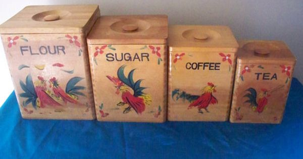 Vintage Red Rooster Wooden Canister Set Flour By Vintagesouthwest 30 00 Personally I Don T Have Much Of The Woo Canister Sets Red Rooster Coffee Can Crafts
