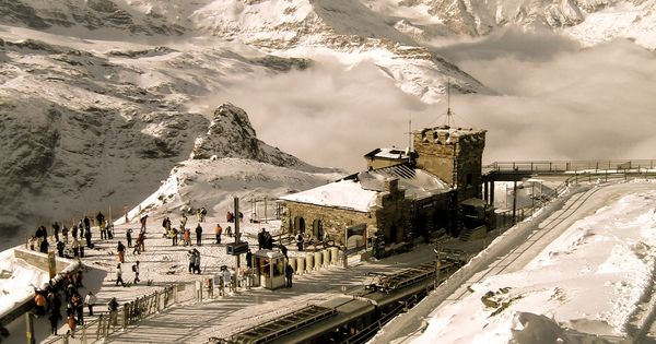 Kornergrat station overlooking the Matterhorn out of Zermatt, Switzerland. travel tours vacation
