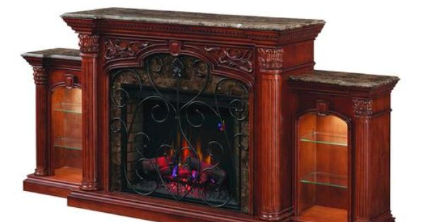 Beauchamp Curio Electric Fireplace W Side Piers At