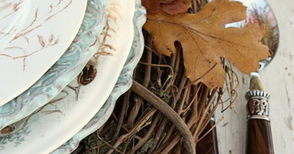 Autumn Table settings from Nature, Simple Grapevine Wreaths as Charger Plates with