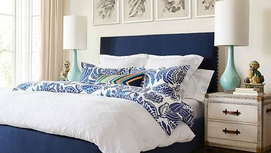 Navy And Gold Bedside Lamps: Add A Pop Of Color To Accent Your Classic White Duvet