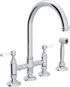 Rohl Italian Country Kitchen 4 Hole C Spout Bridge Kitchen Faucet With Double Porcelain Lever Handle And Side Spray Ra146 Kitchen Faucet Faucet Kitchen Handles