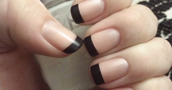 Matte Black French Tip Nail Polish Art.