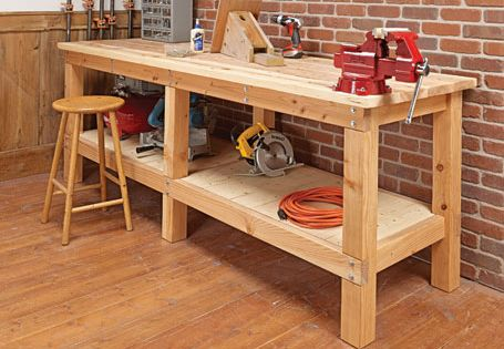 Heavy Duty Plank Workbench Woodsmith Plans Shop Ideas Pinterest