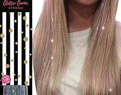 Glitzernde Haarsträhnen, Silberne holographische' HAIR