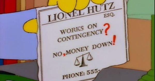 Lionel Hutz Business Card Simpsons Lionel Hutz The Simpsons