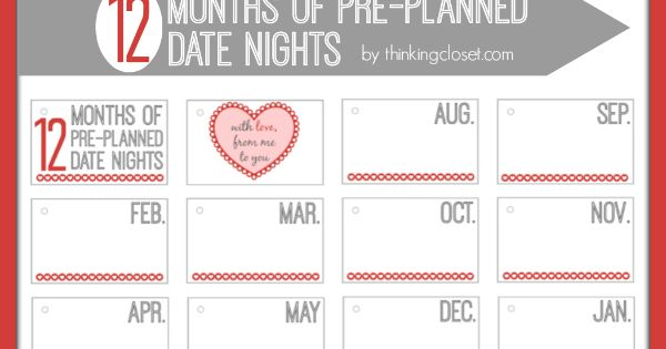 12 Months Of Dates Wedding Gift: Free 12-Months Of Pre-Planned Date Night Printables