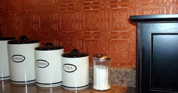 Creative backsplash ideas for your kitchen or bath for Washable wallpaper backsplash