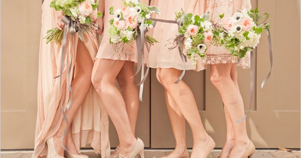 peach bridesmaid dresses with nude shoes