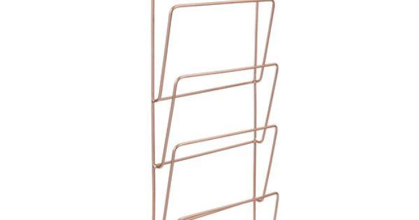 Porte revues mural en m tal cuivr h 65 cm copper news for Le pere du meuble furniture