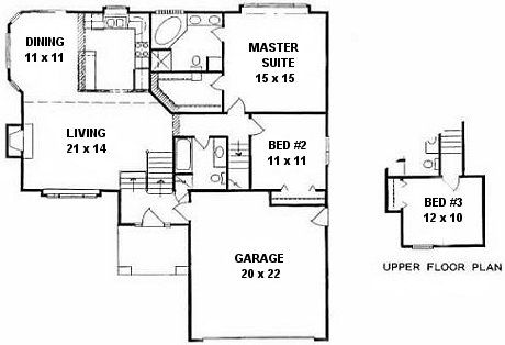 Plan 1384 3 Bedroom Quad Level Home W Jacuzzi Tub Floor Plans House Plans How To Plan