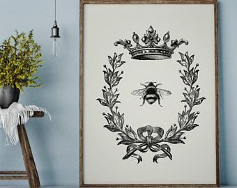 Bee Print French Country Decor Farmhouse Printable Digital