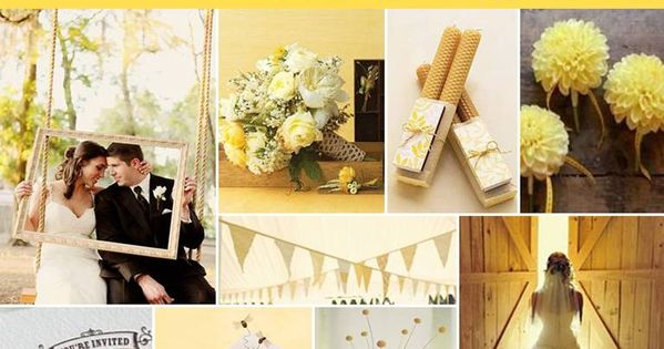 Pantone Lemon Zest Fashion Color Wedding inspiration Board
