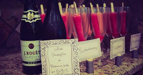 pour your champagne over popsicles. Cute shower idea