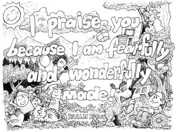 Adult Coloring Pages For Everyone Psalm 139 14 Bible Verse