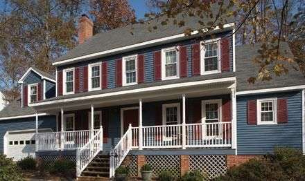 Grey Blue House With And Maroon Shutters Google Search Outside House Colors Exterior House Paint Color Combinations Blue Siding