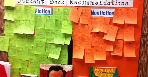 Students recommending what to read; posted in the classroom library. Print a