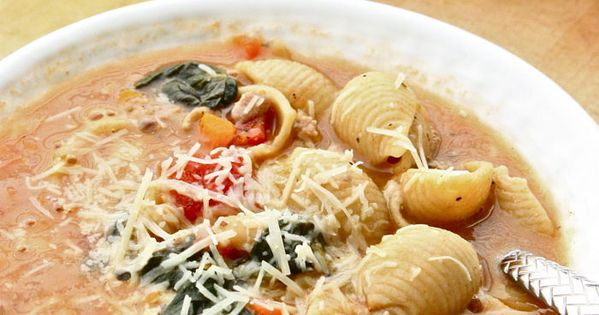 A rustic Tuscan style Sausage Soup that feeds a small army. Freezes