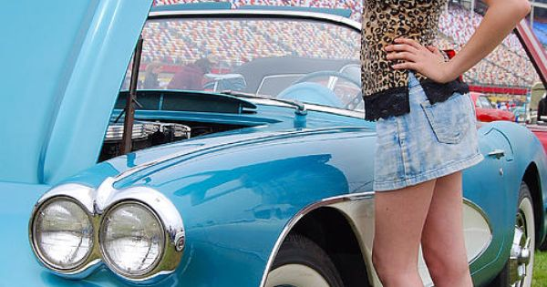 Tazaina Posed With A Baby Blue 62 Chevy Corvette