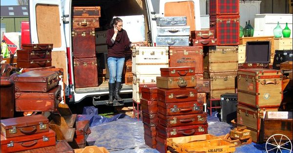 Stall specialising in selling old suitcases at the Newark Antiques ...