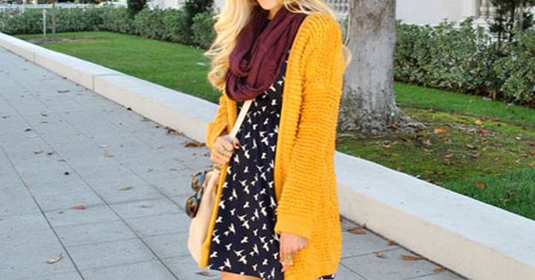 mustard sweater, print dress and riding boots fall fashion