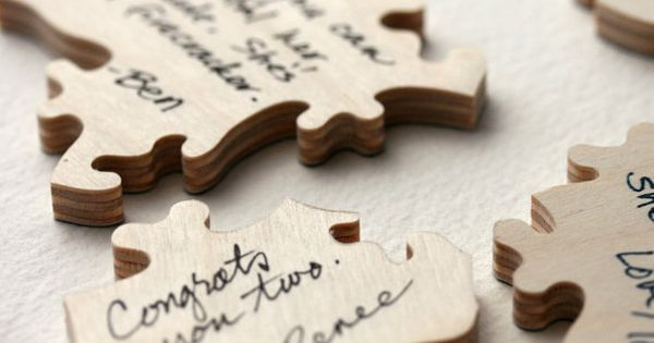 Personalized Wood Wedding Puzzle. A guest book alternative for your wedding or