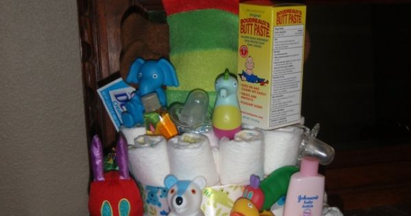 Diaper cake - possibly out of cloth? Or baby onesies?