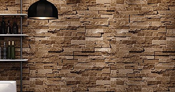 Birwall cultural faux brick stone wallpaper 3d kitchen for Papel decomural vintage